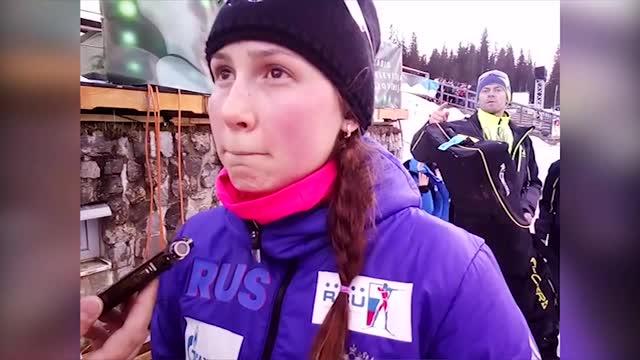 Валерия Васнецова после финиша в индивидуальной гонке в Поклюке