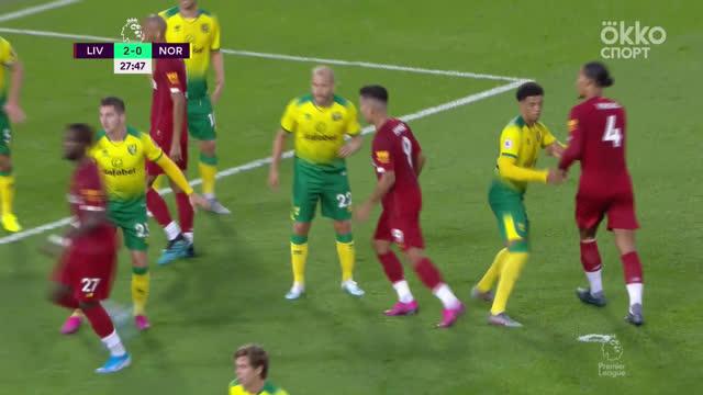 3:0. Ван Дейк («Ливерпуль») забивает после углового