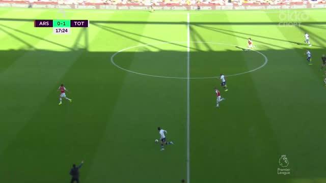 Лено («Арсенал») вытаскивает мяч из девятки после удара Сона