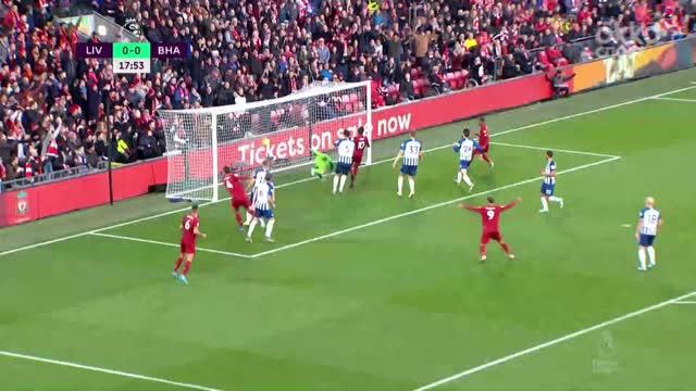 1:0. Ван Дейк («Ливерпуль») открывает счет после подачи Трента
