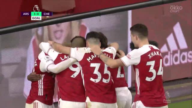 3:0. Сака («Арсенал») закинул мяч за шиворот Менди («Челси»)!